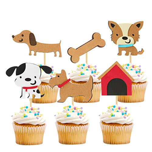 iMagitek 24 Pcs Dog Cupcake Toppers Decorations Pick, Puppy Cupcake Topper Picks for Kids Birthday Party, Baby Shower, Pet Themed Party, Baby Boy 1st Birthday Party, Pet Birthday Party