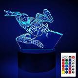 Spiderman 3D night light movie character 16 color transform USB touch and remote control LED camera da letto per bambini lampada da tavolo baby sleep decorazione luce Halloween regalo di Natale