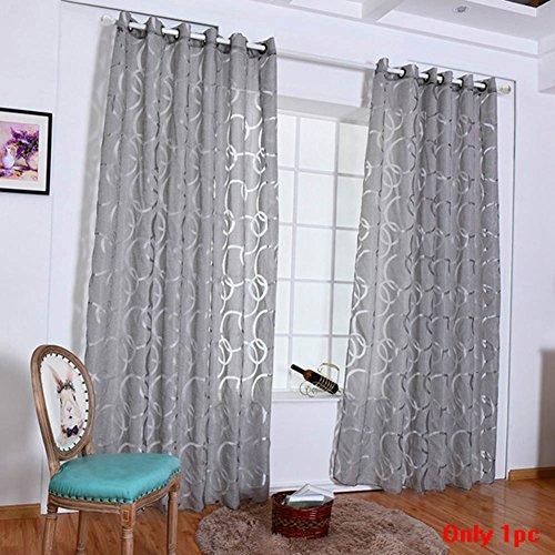 Tookie - Cortinas decorativas para el hogar, cortinas tul de gasa para dormitorio, sala de estar, ventana, puerta, decoración, círculos, flores cortadas con burbujas, gris, 100*200cm