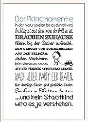 artissimo, Spruch-Bild gerahmt, 51x71cm, PE6032-ER, Dorfkindmomente, Bild, Wandbild mit Spruch, Spruch-Poster mit Rahmen, Geschenk-Idee, Wand-Deko, Plakat, Kunst-Druck, Typographie, Zitat