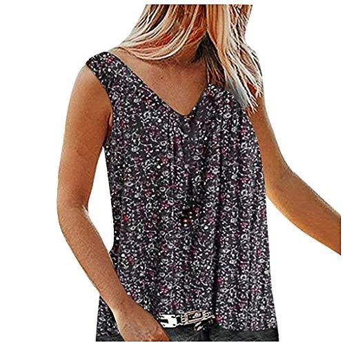 TOFOTL Trachtenbluse Damen Große Größen, Mode Frauen V-Kragen gedruckt gebrochenen Blumen ärmelloses Freizeit-Shirt