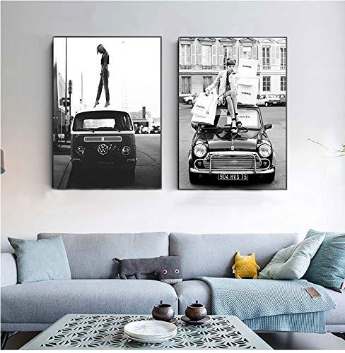 Canvas Painting Fashion Retro Style Black White Photo S Vintage Street Art Retro Car Vogue Girl Pictures Home Decor-30x40cmx2 No Frame
