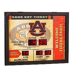 Team Sports America NCAA Bluetooth Scoreboard Wall Clock, Auburn Tigers