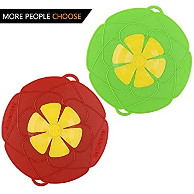 AuSincere 2 X Spill Stopper Lid Cover And Spill Stopper, Boil Over Safeguard,Silicone Spill Stopper Pot Pan Lid Multi-Function Kitchen Tool (Green And Red) …
