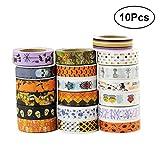 Healifty 10PCS Washi tape Halloween a tema decorativo mascheratura per DIY arti scrapbooking Craft regalo (modello casuale)