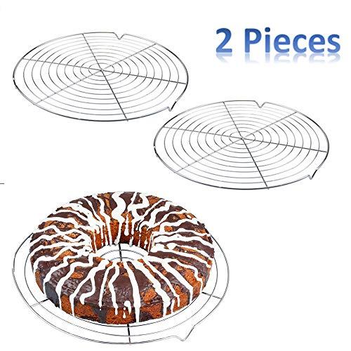 Nuluxi Abkühlgitter Edelstahl Metall Kuchenauskühler Rund Kuchen Abkühlgitter Tortenkühler Gleichmäßiges und Schnelles Auskühlen Leichte Lösbarkeit der Gebäcke Extra Große Auskühlfläche-2 Stück,Silber