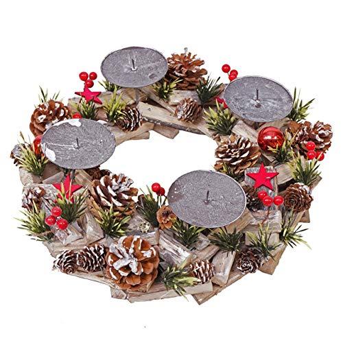 Mendler Adventskranz HWC-H50, Weihnachtsdeko Adventsgesteck Weihnachtsgesteck, Holz rund Ø 33cm ~ ohne Kerzen
