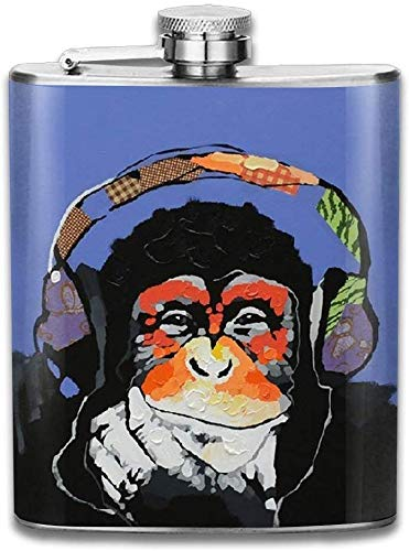 Eybfrre Stainless Steel Hip Flask 7 Oz Monkey Listen to Music Full Printed Personalised Funny Bottle
