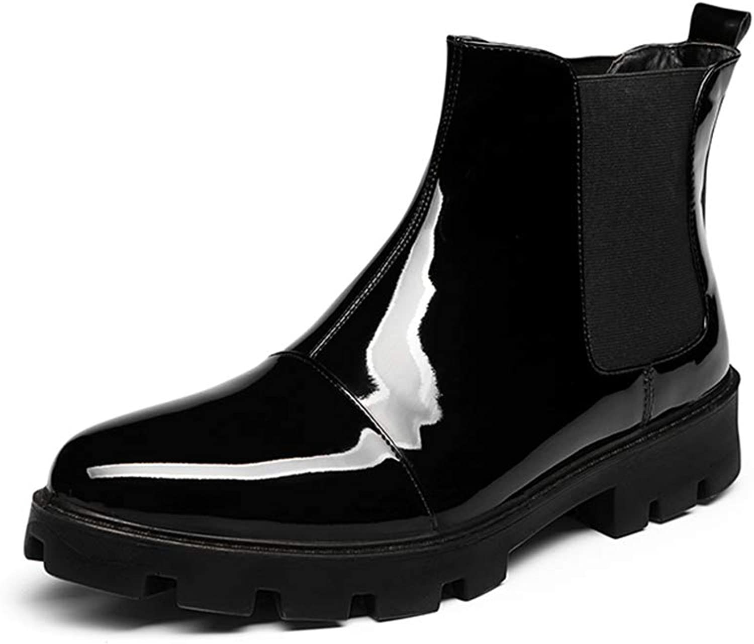 Easy Go Shopping Men's Fashion Ankle Boot Casual Comfortable Cover with Patent Leather High Top shoes Cricket shoes