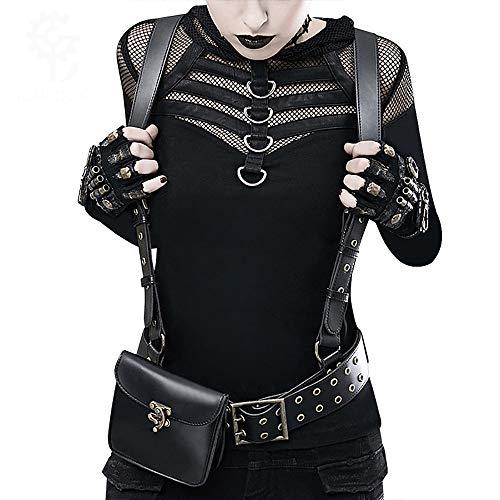 SMILINGGIRL Steampunk PU Zaino da Donna Accessori Abbigliamento Borsa Moto Unisex,Black