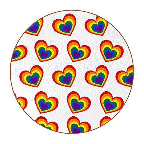 Bennigiry Colorido amor corazón doble patrón 6 piezas bebida posavasos redondo posavasos para mesa bar taza café vino cerveza