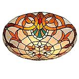 Tiy Lámpara de techo de estilo rural, accesorio de cocina, lámpara de techo de montaje empotrado, lámpara de pantalla de vidrio mediterráneo, luz de montaje semi empotrada, uso de 3 bombillas E26 para