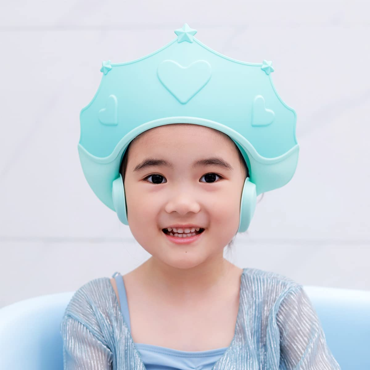 Baby Shower Cap Shampoo Visor Shield hat Kids Bath Washing Hair Rinser Prevents Water from Pooling in Face for Protector Toddler Children Eyes and Ears (Blue)