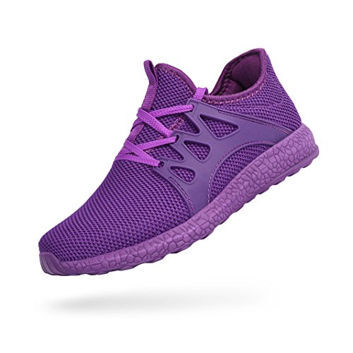 Feetmat Womens Golf Shoes Ultra Lightweight Breathable Mesh Athletic Walking Running Shoes Purple 9
