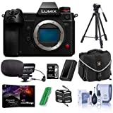 Panasonic Lumix DC-S1H Mirrorless Camera Body - Bundle with Camera Case, 128GB SDXC Card, Spare Battery, Stereo Condenser Microphone, Memory Wallet, Card Reader, Cleaning Kit, Tripod, Pro Software
