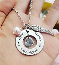 Until We Meet Again in Heaven, Personalized Memorial Necklace with Angel Wing and Birthstone
