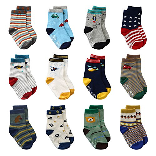 LAISOR 12 Pairs Assorted Non-Skid Ankle Cotton Socks with Grip For Kids Toddlers Baby (6-12 Months)