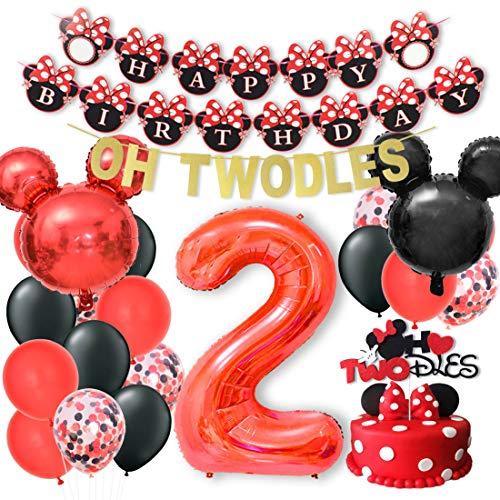 Kreatwow Oh Twodles Minnie Decorazioni per Il 2 ° Compleanno Topolino e Minnie Articoli per Feste Ghirlanda di Banner per Topper Torta Rossa e Nera
