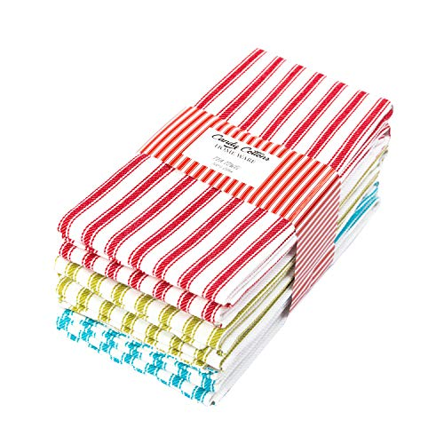 Candy Cottons Kitchen Towels, French Stripes, 100% Ring Spun Cotton Dish Towels,18 x 28 Inches (Set of 6) Kitchen Towels, Ultra Soft - Super Absorbent - Quick Drying Dish Towels, Tea Towels – Assorted
