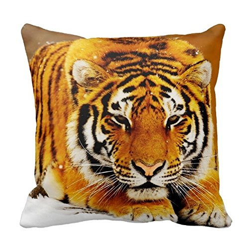 Tiger in the Snow Zippered Pillow Case Home Decorative Cushion Covers Square 18x18 Inch (Two Sides)