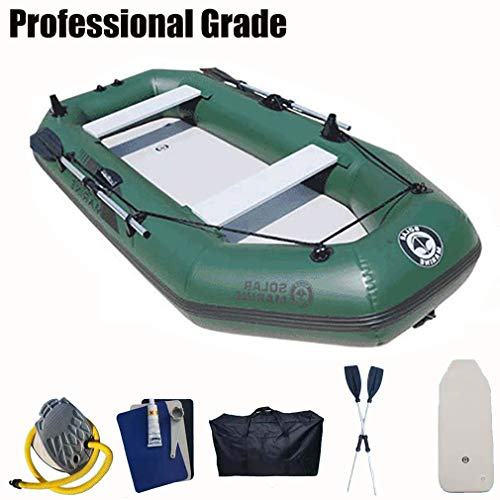 Kayak Inflatable 2 Person, Fishing Inflatable Boat with Hard Floor in for Canal, with Oars & Air Pump,Dark green,175 * 103cm