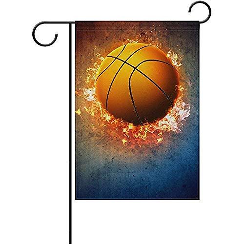 GWrix Gartenflaggen,Hauptflagge,Garten Banner,Feiertage Flags,Künstlerische Fahnen,Brennende Basketball-Flammen-Feuer-Flammen-Sport-Flaggen Im Freien Für Jahrestag,Partei,Hochzeit