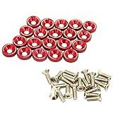 jdm fender washer kit - JDMSPEED 20 Pcs Red CNC Billet Aluminum Fender Washer Engine Bay Dress Up Kit