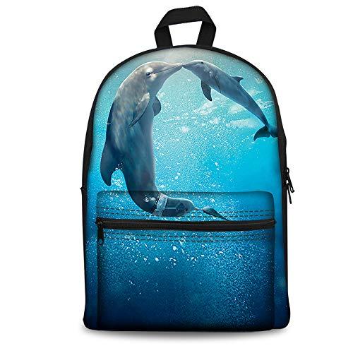 Foruidea - Mochila para niños (38 cm), diseño de delfín