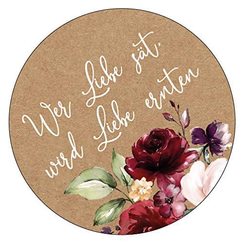 48 x Aufkleber 40 mm Hochzeit Blumensamen Vintageflower Gastgeschenk Etikett 19040540