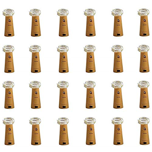 CUUCOR 24Pack Wine Bottle Lights with Cork, 7.2ft 20 LEDs Battery Operated Fairy Mini String Cork Lights for DIY,...