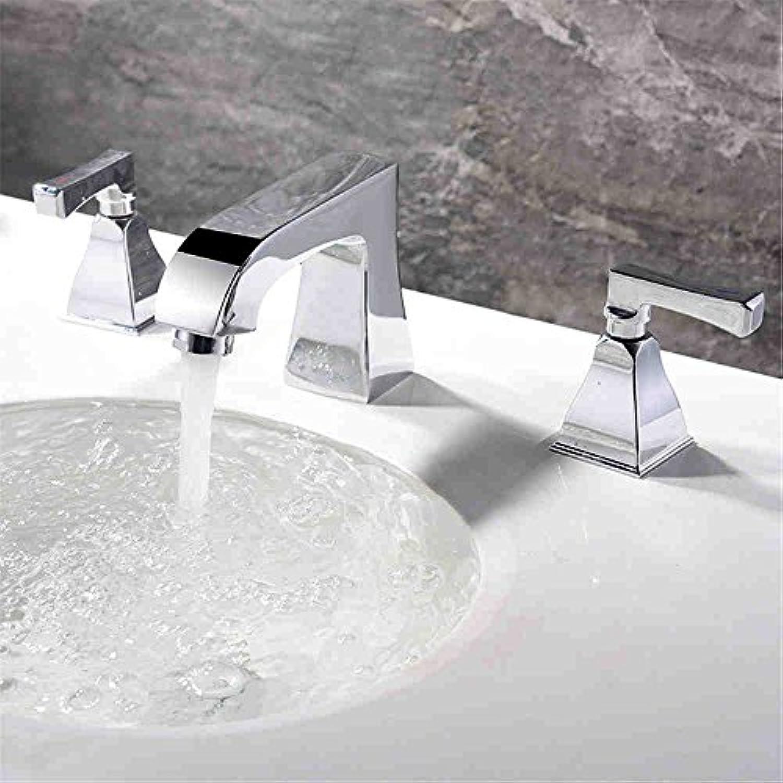 Bijjaladeva Wasserhahn Bad Wasserfall Mischbatterie Waschbecken Armatur für Waschbecken Unterschrank -Messing Chrom 3 Loch mit Kalt-und Warmwasser am Waschbecken Wasserhahn Tippen