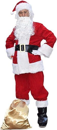 shuhong 10 Stück Herren Weißnachtsmann Weißnachtsmann Weißnachten Kostüm Kostüm Mit Bart Dress Up Performance,L175-190
