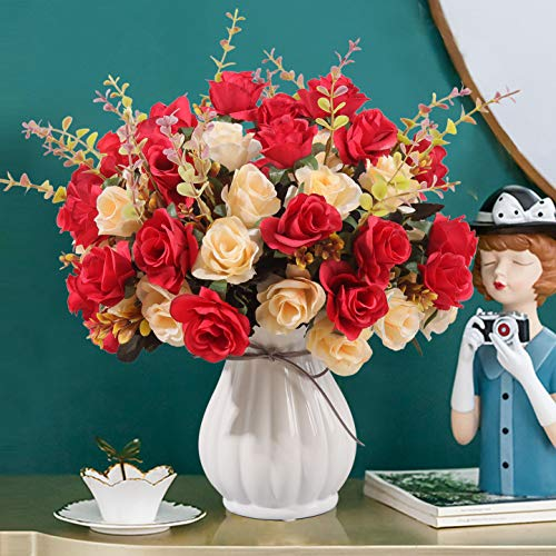 NA Artificial red Rose Bouquets and Ceramic vases are Suitable for Home, Wedding, Office and Party Decorations. (red)…