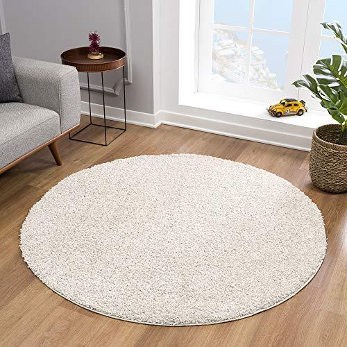 Impression Teppich Rund - Perfect Teppiche fürs Wohnzimmer, Flur, Schlafzimmer, Kinderzimmer, Babyzimmer - Hochwertiger Öko-Tex Zertifizierter Flächenteppich - Solid Color Creme - 150 cm Rund