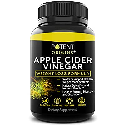 100% Natural Apple Cider Vinegar - 90 Capsules for Healthy Diet & Weight Loss- Pure, Raw, Vegan and Non-GMO - Helps Digestion - Made in USA - Add to Garcinia Cambogia and Your Diet Kits & Systems from Potent Organics