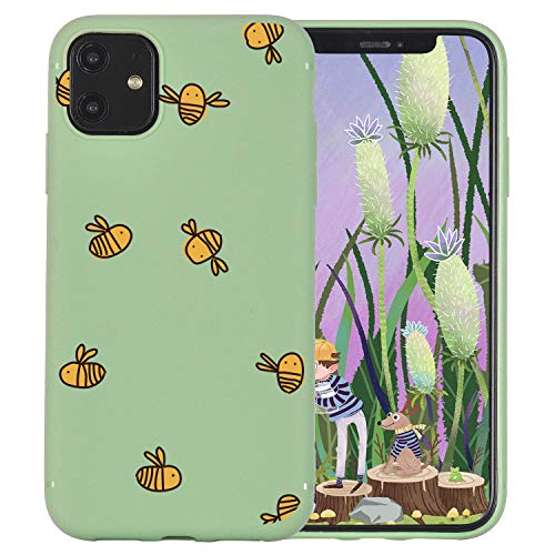 JOYLAND Avocado Green Case for iPhone 6 Plus/6S Plus Case Bee Pattern Matcha Green Phone Cover Flexible Green TPU Bumper Case for iPhone 6 Plus/6S Plus
