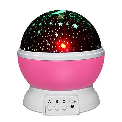 Yasolote,Nachtlicht Sternenhimmel Projektor, Baby Licht 360° Rotation LED Sternenlicht Lampe Sternhimmelprojektor mit 8 Farbige Lichter...