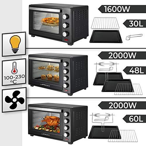 Jago® Mini Four - Capacité 30/48/60 L, 1600/2000 W,...