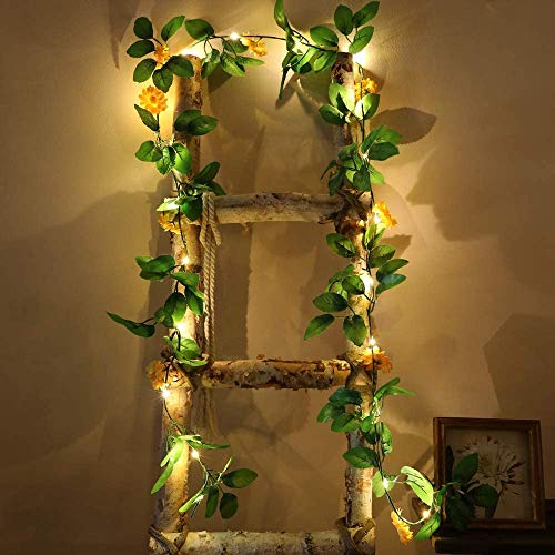 Pequeñas cadenas de luces LED de girasoles, guirnalda de flores de margaritas, luces nocturnas, corona de crisantemo, funciona con pilas (girasoles pequeños, 1 juego)