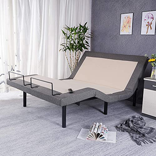 """Adjustable Bed Base Backlit Wireless Remote Bed Frame Max 848LB, 7""""or 11"""" Adjustable Bed Frame Height, Independent Head and Foot Bed Incline, USB Ports, Flat&Memory Button, 5 Minutes Assembly, Queen"""