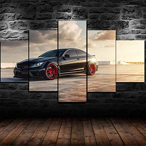 13Tdfc 5 Teilig Leinwand Wanddeko Gerahmtes Mercedes Benz C63 Amg Auto Malerei Leinwanddrucke Geschenk 5 Stück Leinwand Bilder Moderne Wandbilder XXL Wohnzimmer Wohnkultur 150X80Cm