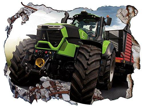 Chicbanners V0505 Wandtattoo, Motiv Traktor Farmer 3D Wall Crack Wall Smash, selbstklebend, Größe 1000 mm breit x 600 mm tief (groß)