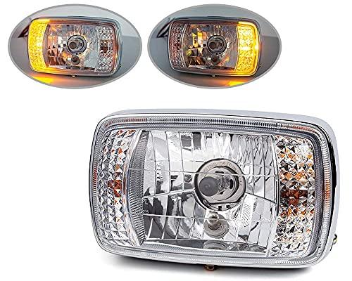 Moto Nero Rettangolare 12V Faro Con Laterali - Omologato/Marcatura E