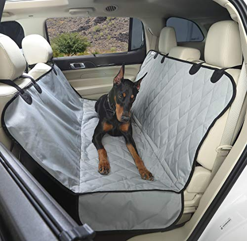 4Knines Luxury Dog Seat Cover With Hammock - Grey Extra Large - USA Based Company