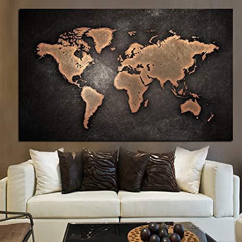 Resumen 3D Mundial de la lona del mapa pintura clásica Mapa del Mundo Negro Imprimir En Sala lienzo Oficina for Panel de Obras de Arte Cuadros Decoración Sin marco ( Size (Inch) : 60X80 cm Unframed )