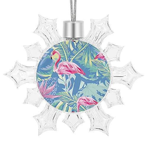 LESIF Adornos de Navidad, flamenco de acuarela rosa tropical y azul, adornos colgantes de copo de nieve para decoración del árbol de Navidad, decoración familiar, vacaciones, Navidad, fiesta, regalo