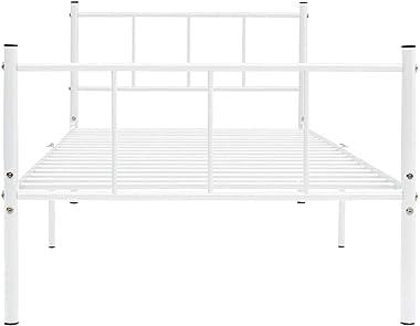 Lechnical Cadre de lit en métal Pratique dans la Chambre, Cadre de lit en métal Blanc de Style Moderne 206,4 x 105,2 x 80 cm