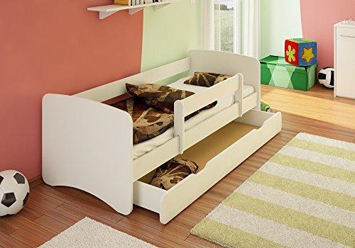 Best For Kids Kinderbett 80x160 mit Rausfallschutz + Schublade 44 Designs (Weiß)