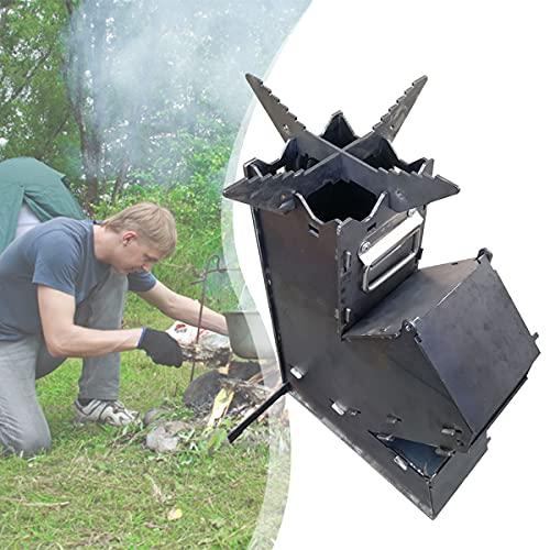 HAIT Estufa Portátil para Acampar Rocket Estufa De Mochilero De Montaje Rápido para Cocinar Al Aire Libre Picnic Caza Quema De Leña para Cocinar Al Aire Libre No Se Necesita Gas Ni Electricidad