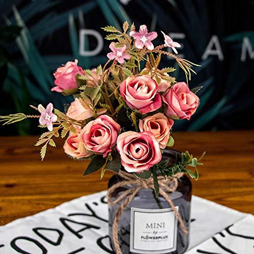 Zyf 1 boeket 10 hoofd kunstmatige zijden doek vervalste bloemen bladeren pioenroos bloemen huwelijksfeest Home Deco-Pink